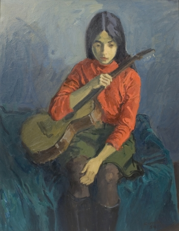 Raphael Soyer, Portrait of Girl with Guitar, c.1968, oil on canvas, 31 1/4 x 24 inches