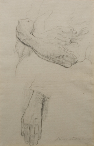Kathe Kollwitz, Arm and Hand Studies, 1905, charcoal on paper, 18 1/2 x 12 inches