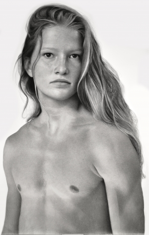 Clio Newton, Taylor, 2019, compressed charcoal on paper, 92 3/8 x 58 inches
