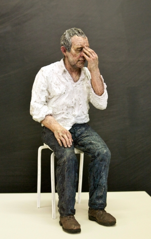 Sean Henry, Untitled (Man on a stool) (SOLD), 2010, bronze, oil paint, Height: 14 inches, Edition 3/9