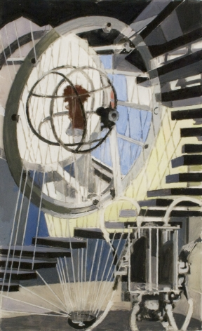 Charles Sheeler, The Spirit of Research, 1955-6, tempera on plexiglass, 9 1/2 x 5 7/8 inches
