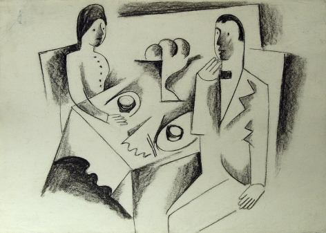 Bela Kádár, Untitled (man and woman, at table), n.d., charcoal on paper, 9 7/8 x 13 3/4 inches