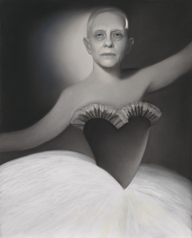 susan hauptman, Self Portrait (L'apres-midi D'un Faune), 2014, charcoal on paper, 47 1/2 x 59 inches