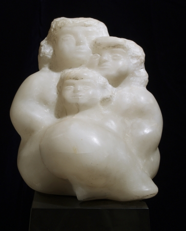 chaim gross, Mother, Daughter and Son, 1980, white alabaster, 11 1/4 H x 10 W x 9 1/2 D inches