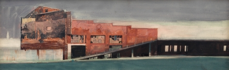 david levine, Storm Lifting Over Coney, 1987, watercolor on paper, 7 1/2 x 23 1/4 inches
