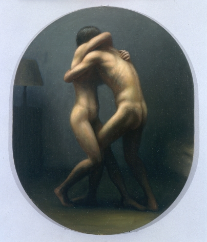 wade schuman, Embrace (SOLD), 1998-2001, oil on linen over panel, 19 x 15 inches