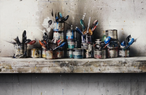 cesar galicia, Paint Cans, 2012, mixed media on board, 21 5/8 x 33 1/2 inches
