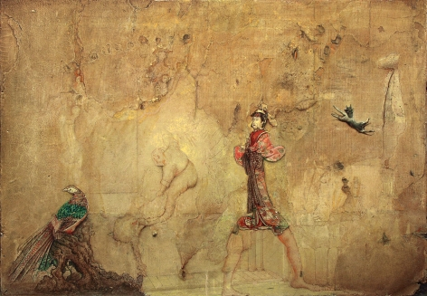 gregory gillespie,  Bird, Man, Japanese Figure and Mad Dog, 1983, oil on wallboard, 24 x 33 1/2 inches