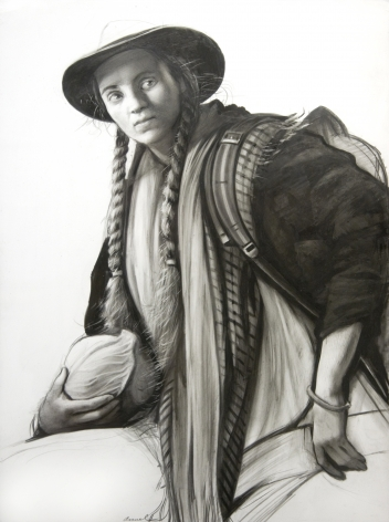 Steven Assael, Girl with Cabbage, 2020, graphite and crayon on paper, 15 1/2 x 11 1/2 inches