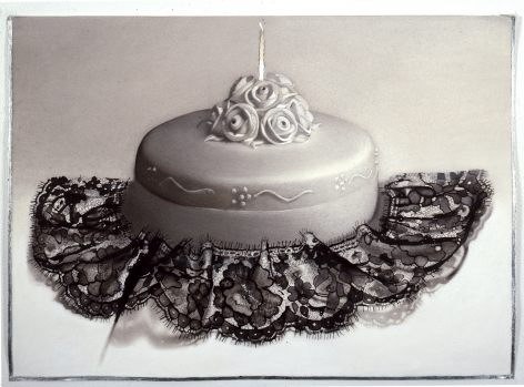 Susan Hauptman, Cake (SOLD), 2007, charcoal, ink, encaustic and silver leaf on paper, 23 x 33 inches