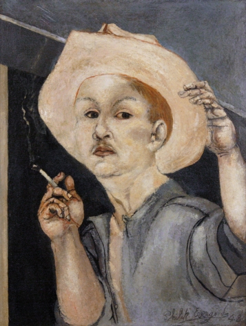 philip evergood, Self-Portrait Tipping Hat, 1948 oil on board 16 3/4 x 13 inches