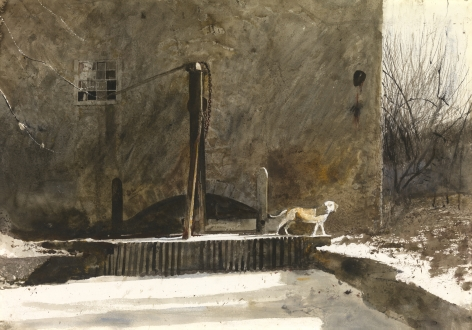 Andrew Wyeth, Frozen Race, 1969 watercolor on paper 20 1/4 x 29 1/4 inches