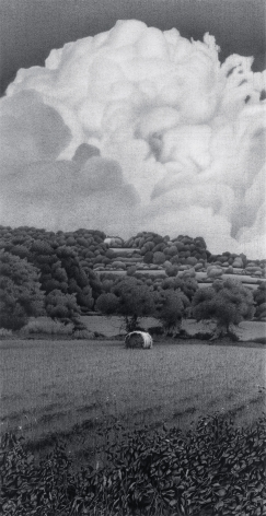 Anthony Mitri One Bale & One Silver Ring, Normandy, France, 2003, charcoal on paper, 30 x 22 1/2 inches, Private Collection