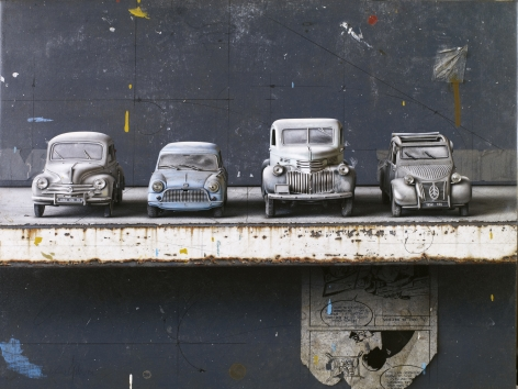 cesar galicia, Cars and Dust (SOLD), 2011, mixed media on board with silicon carbide, 16 3/4 x 22 1/4 inches