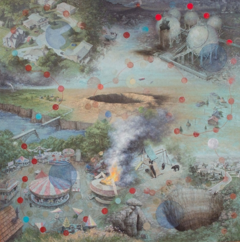 michele fenniak, Disaster, 2013, oil on panel, 48 x 48 inches