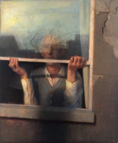Paul Fenniak, Window, 2019-20, oil on wood, 36 x 30 inches