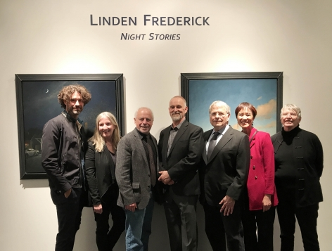 artist with authors, From left: Joshua Ferris, Luanne Rice, Richard Russo, Linden Frederick, Lawrence Kasdan, Tess Gerritsen, and Lois Lowry