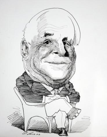 David Levine, Senator John McCain, 2002, ink on paper, 13 3/4 x 11 inches