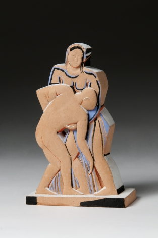John Storrs, Woman and Soldier, 1940-51, terracotta with applied paint, 7 1/4 x 4 7/8 x 1 7/8 inches