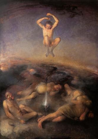 odd nerdrum, Nightjumper, oil on canvas, 81 1/2 x 114 1/2 inches