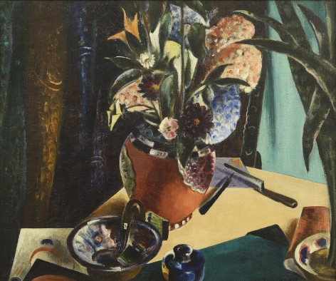 preston dickinson, Still Life with Flowers, 1923-24, oil on canvas, 20 x 24 inches
