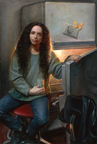 Steven Assael, June Holding Glass, 2007, oil on canvas, 62 x 41 inches