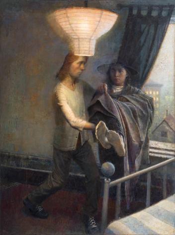 paul fenniak, Injured Woman, 2014, oil on masonite, 48 x 36 inches