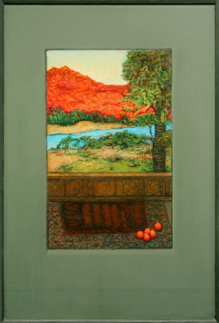 gregory gillespie, Red Mountain, 1995, oil, pencil, and Xerox transfer on panel, 16 1/4 x 10 inches