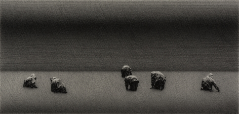 anthony mitri, Strawberry Pickers 3, Ile d'Orleans, Canada, 2014, charcoal on paper, 10 x 21 inches