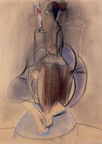 Max Weber, Woman with Clasped Hands, 1955, pastel on paper, 24 x 18 inches