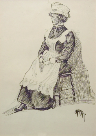 Edward Hopper, Maid, 1899, pen and ink on paper, 24 1/2 x 19 1/4 inches