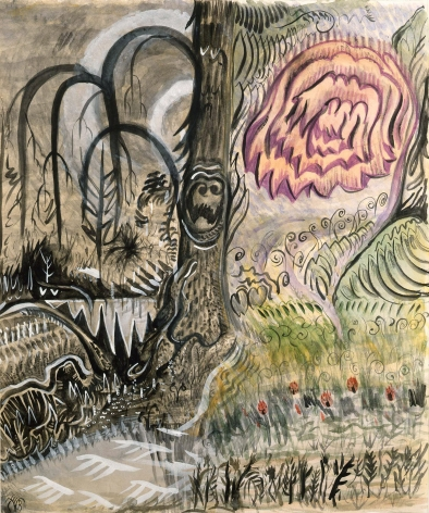 Charles Burchfield, Fantastic Landscape, 1917, watercolor, gouache, pen, black ink, brush, gray wash and purple crayon on paper, 21 x 17 inches