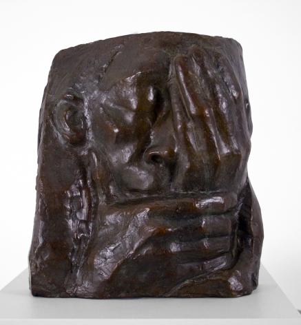 Kathe Kollwitz, Grief (also known as Lamentation, Memorial for Ernst Barlach), 1938-40, bronze, 10 1/4 x 10 x 3 3/4 inches