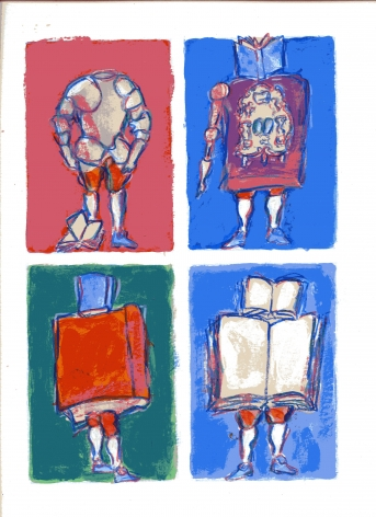 mark podwal, Four Children (SOLD), 2011, acrylic, gouache and colored pencil on paper, 16 x 12 inches