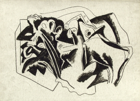 Bela Kádár, Untitled (abstract with calf), n.d., charcoal on paper, 9 7/8 x 13 7/8 inches