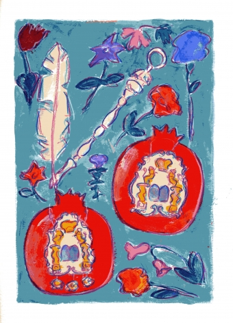 mark podwal, Israel's Fruits and Flowers (SOLD), 2011, acrylic, gouache and colored pencil on paper, 16 x 12 inches