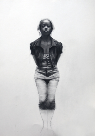 Steven Assael, Hands Behind Back (SOLD), 2008, crayon and graphite on paper, 23 x 16 3/8 inches