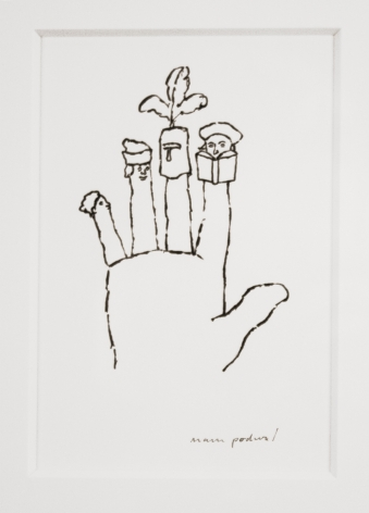 mark podwal, The Four Sons (from Elie Wiesel, A Passover Haggadah), 1991, ink on paper, 5 x 3 inches
