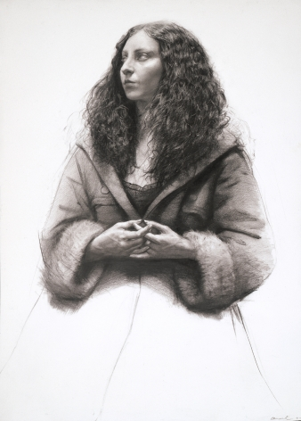 Steven Assael Cassandra with Hands Clasped, 2007, graphite on paper, 19 3/8 x 17 7/8 inches
