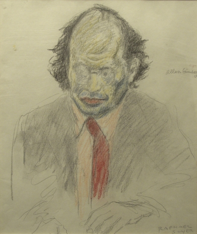 Raphael Soyer, Allen Ginsberg, pencil, pastel on paper, 14 1/4 x 12 inches
