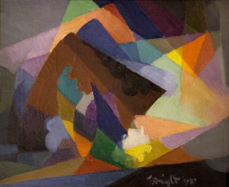 Stanton MacDonald-Wright, La Tempête, c. 1955, oil on canvas, 12 x 16 inches
