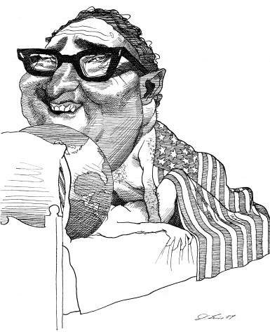 David Levine, Henry Kissinger F**ing The World, 1984, ink on paper, 13 3/4 x 11 inches
