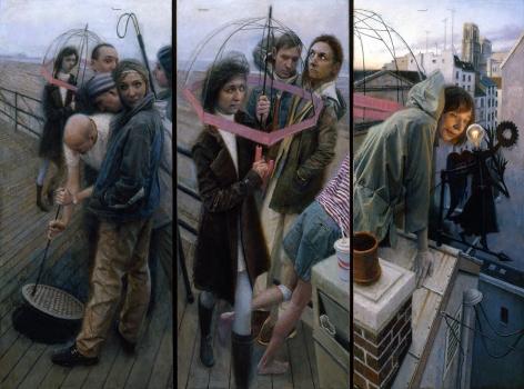 paul fenniak, Sleepwalker (triptych) [SOLD], 2011-2012, oil on canvas, triptych overall: 54 x 76 inches, each canvas: 54 x 24 inches