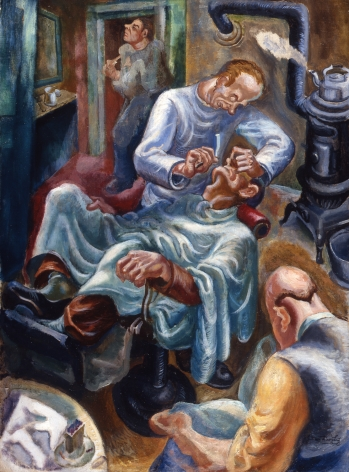James H. Daugherty, Getting Shaved, c. 1927, oil on canvas, 38 1/2 x 27 1/2 inches