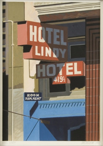 Robert Cottingham, Facade: Hotel Lindy, 1984, acrylic on paper, 14 x 11 1/4 inches