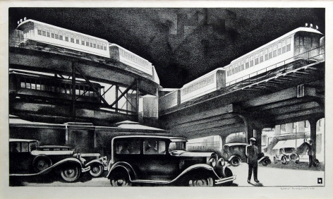 Louis Lozowick Traffic, c.1930, lithograph, 9 x 16 inches (image size)