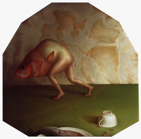 wade schuman, Gluttony, 1989-90, oil on panel, 36 x 36 inches