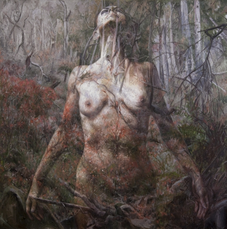 alyssa monks, Stay, 2017, oil on linen, 40 x 40 inches