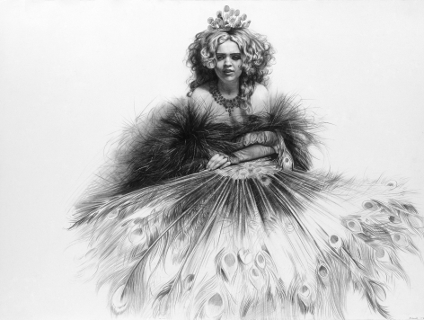 Steven Assael Amber with Peacock Feathers 5, 2002, graphite on paper, 22 3/4 x 30 inches