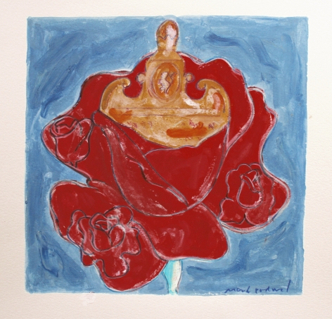 Mark Podwal, Rabbi Loew's Rose (SOLD), 2008, acrylic, gouache and colored pencil on paper, 12 x 12 inches
